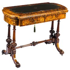 Antique Burr Walnut & Marquetry Combination Writing & Card Table 19th C