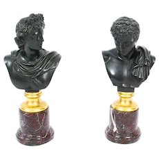 Antique Pair French Grand Tour Bronze Busts Mercury & Apollo 19th C
