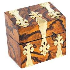 Antique Burr Walnut Brass Perfume Box C1860 19th Century