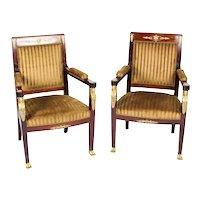Antique Pair Empire Revival Ormolu Mounted Armchairs C1880 19th C
