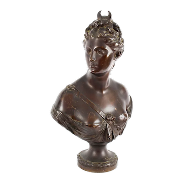 Antique Sculpted Polished Bronze Bust of the Roman Goddess Diana 19th C