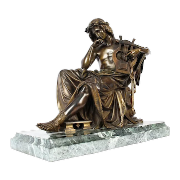 Antique Bronze of Orpheus- Albert-Ernest Carrier-Belleuse 19th C
