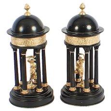 Antique Pair of Grand Tour Marble & Ormolu Colonnade Temple Models 19th C