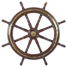 Antique 4ft Diam Teak and Brass Set 8-Spoke Ships Wheel C 1880 19th Century