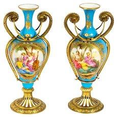 Antique Pair French Ormolu Mounted Bleu Celeste Sevres Vases 19th C