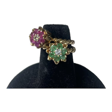 14K Gold Ruby Diamond and Emerald tulip rings