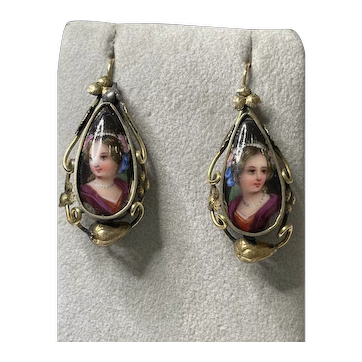 14K Gold Victorian Hand Painted Porcelain Earrings