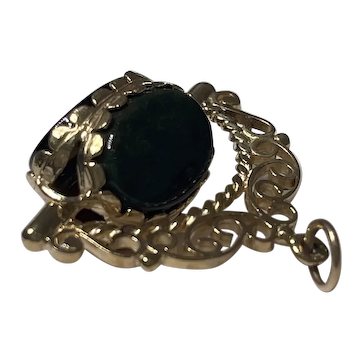 9K Gold Onyx, Carnelian, and Green Stone Spinner Fob