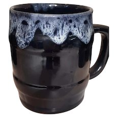 "Vintage Anna Van Briggle Glazed Blue and White Drip  4"" x 3"" Barrel Style Coffee Mugs Good Condition"