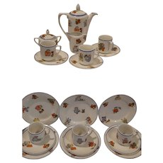 "Vintage Rudolstadt German ""Happy Fats"" Children's Porcelain Dish Set"
