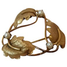 Vintage Carl Art Brushed 12KGF Mid Century Whimsical Design Fashion Brooch w/Light Catching Accents