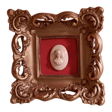 Vintage Rococo Style Ceramic Frame With Red Velvet Matte w/a Sculpted Medallion Sized Cameo of a Curly Haired Lady