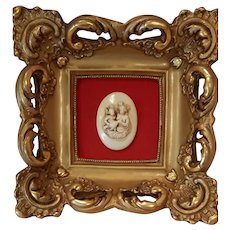 Vintage Rococo Style Ceramic Frame With Red Velvet Matte w/a Sculpted Medallion Sized Cameo of Two Cherubs
