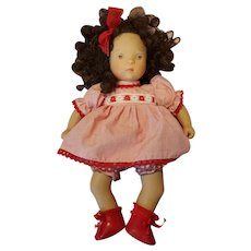 "Vintage Gotz Sylvia Naterrer Miami Doll 11"" White Balloon Bye Bye Doll w/Curly Dark Hair"