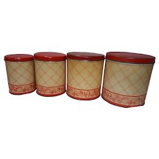 Vintage Farmhouse Graduated Tins w/Red Lids Set of 4 Harvest Motif w/Beige and Red Plaid Pattern