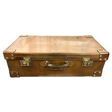 Vintage brown leather luggage suitcase valise