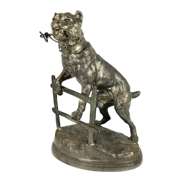 Victorian spelter statue Staffordshire Bull Terrier Dog By the French artist Charles Valton