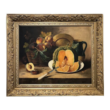 Pumpkin and peach oil painting by Louis Lartigau