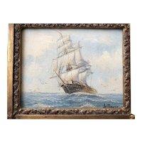 Vintage 3 Mast Sailing Ship Oil Painting Seascape Nautical Maritime marine by Ambroso