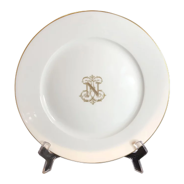 Antique French plate porcelain Sevres with N gold 1888