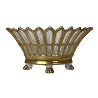 19th Antique French small ovoid porcelain basket porcelain of Paris