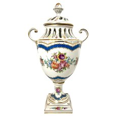 Dresden Porcelain  Lid Vase urn with Gold Painting and flowers