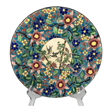 French cake stand Longwy with birds and flowers