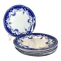 19th French antique blue and white plates Creil Montereau Flora set of 6