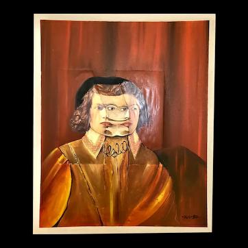 """Man with 3 Faces Oil painter French School signature XII 90 """"L'homme au trois visages"""""""