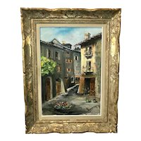French medieval city Conflans Albertville oil painting