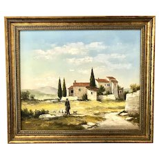 French oil painting landscape with its fold by Mazel