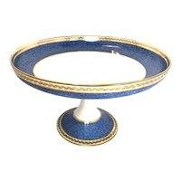 1950 Antique Bernardaud Limoges serving pedestal bowl compotier blue and gold