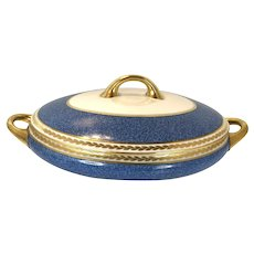 1950 Antique Bernardaud Limoges Serving Bowl With Lid blue and gold