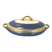 1950 Antique Haviland Limoges Serving Bowl With Lid blue and gold