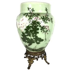 19th Japanese green porcelain vase floral pattern with bronze base