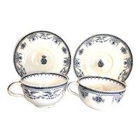 1873 Minton English chocolate tea cups bird Berlin