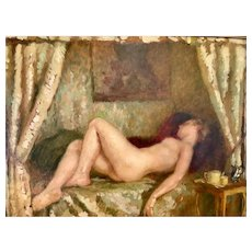 Oil Painting Nude 1910 impressionist Henri Montassier FRENCH 1880 1946