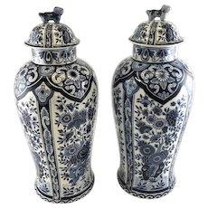 Pair of 20th Century Delft Jars vase