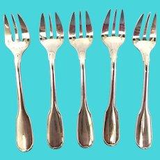 French Christofle 5 silver platted dessert forks model Versailles