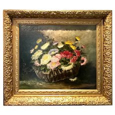 Basket of flowers oil painting by A. Gondois