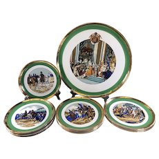 Dessert set of the bicentenary of the Coronation of Napoleon 1 platter and 12 plates from the French Gien manufacture