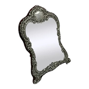 1904 Antique Sterling Solid Silver Dressing Table Mirror 32cm Tall