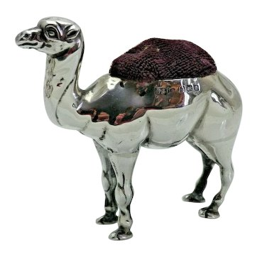1904 Antique Sterling Solid Silver Rare Novelty Camel Pin Cushion