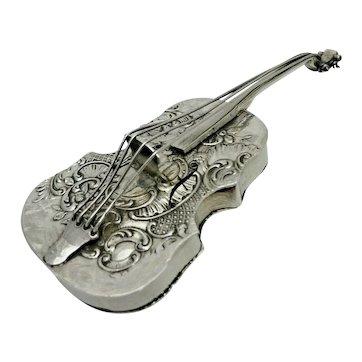 1901 Antique Sterling Solid Silver Rare Cello Pill or Snuff Box