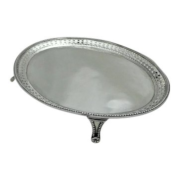 1764 Georgian Antique Solid Sterling Silver Oval Teapot Stand Tray on 4 Feet