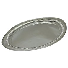 1893 Antique Sterling Solid Silver Oval Serving Platter Tray