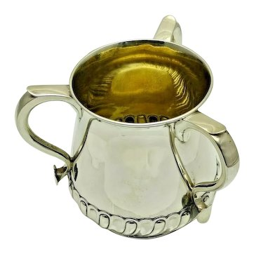1883 Antique Sterling Solid Silver Large Tyg Tankard 1.75 Pints 489g