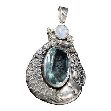 Sajen Sterling Silver Mermaid Pendant Moonstone