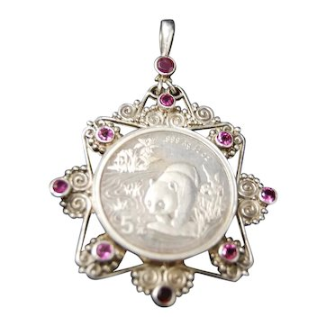 Sajen Sterling Silver Chinese Panda Coin Necklace Pendant