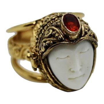 Sajen Sterling Goddess Poison Locket Adjustable Ring